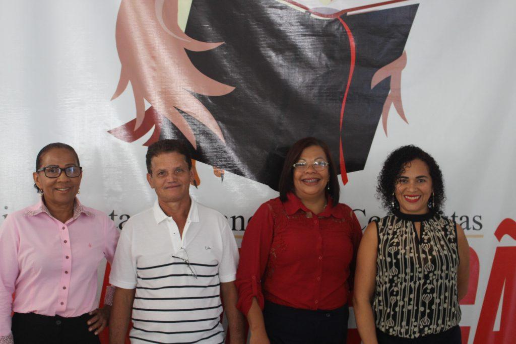 A vice-presidente do Conselho Fiscal, Isabel Cristina, o diretor financeiro, Benedito Oliveira, a presidente, Elisabeth Castelo Branco e presidente do conselho fiscal Orfisa Surama